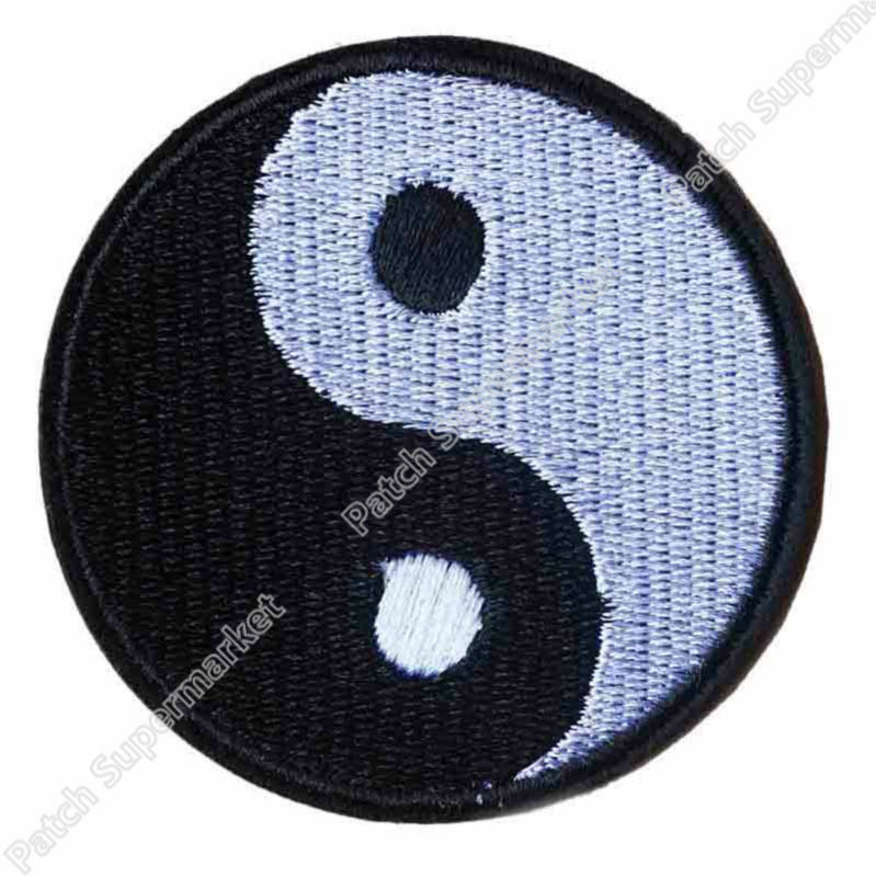 "3"" YIN YANG embroidered iron on PATCH karate ying tai chi EMBLEM Badge Applique biker vest chest halloween anime cosplay-in Patches from Home & Garden    1"
