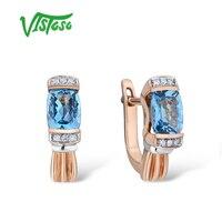 Висосо золотые серьги для женщин 14 K 585 розовое золото сверкающие Роскошные Алмазные синие топазы Свадебные украшения для помолвки