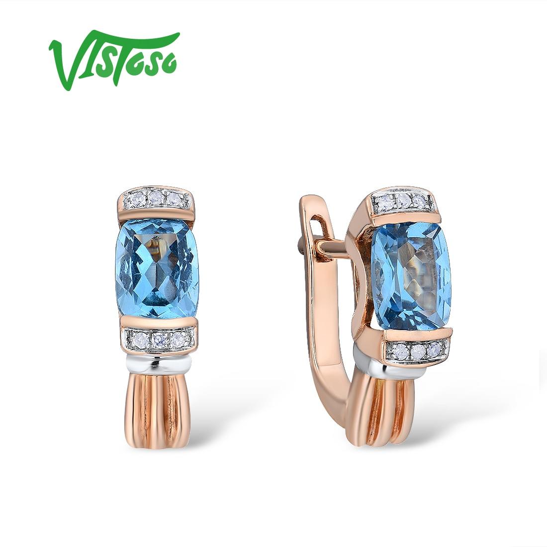 Brincos de Ouro Para As Mulheres 14 VISTOSO 585 K Rose Ouro Espumante Espumante Luxo Diamante Azul Topázio Wedding Engagement Fine Jewelry