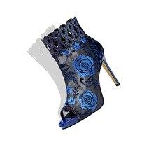 Hersevll/босоножки на высоком каблуке с открытым носком; коллекция года; женская летняя дышащая обувь из сетчатого материала; сандалии на молнии с цветами и кристаллами; женская обувь