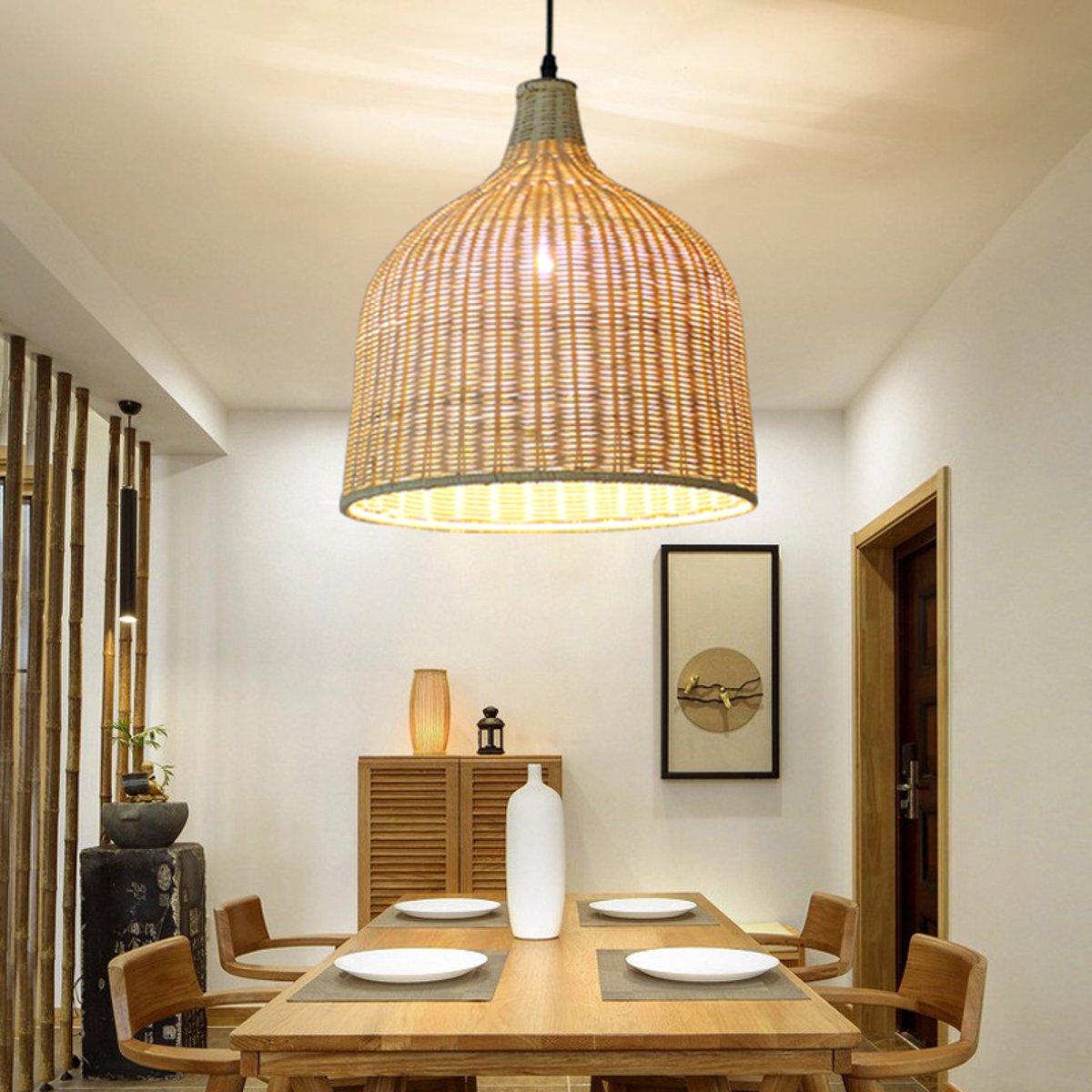 Modern Rattan Pendant Light Lamp Home Room Teahouse Decoration Fixture Bar Indoor Lighting Handmade Lamp Cover E27