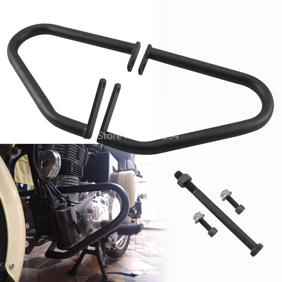 Black Engine Guard Kit For Royal Enfield Classic 500 Pegasus Stealth Models EMS Shipping