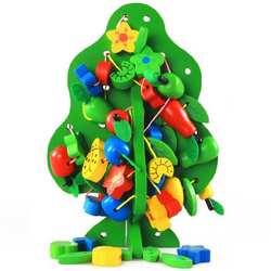 3D DIY красочные деревянные игрушки животных фруктовое дерево дом нанизывая бусины подарок на день рождения ребенка Дети пользу развивающие