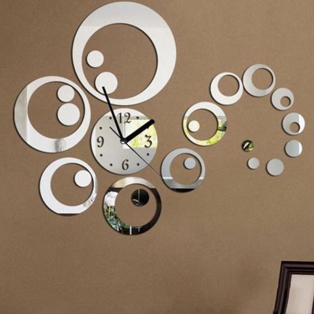 home decor large mirror sticker wall clock modern design 3d diy wall