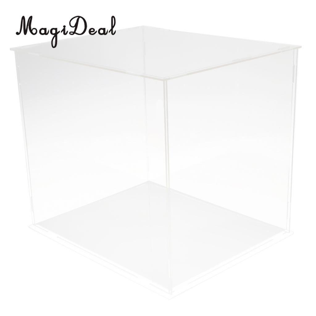 5 PCS Clear Plastic Display Case Box With Base For Dollhouse Action Figures Toy Vehicle Model Showcase Home Display 3 steps display case box dustproof showcase gray base acrylic plastic display box case 25 5x15 5x13 8cm 5 colors