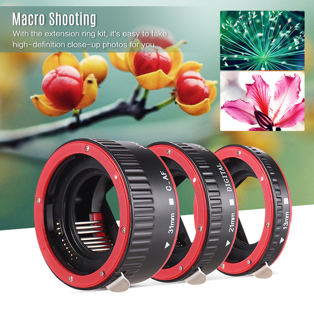 Andoer Macro Extension Tube Adapter Ring for all Canon EF EF S mount lenses TTL and autofocus Plastic macro extension tube canon