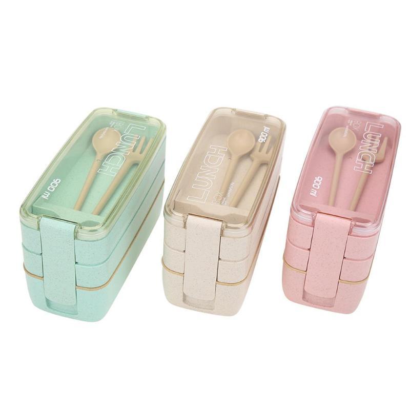900 ml 3 Schicht Weizen Stroh Mittagessen Box Gesunde Material Bento Box Mikrowelle Geschirr Lebensmittel Lagerung Container Lunchbox Dropshipping