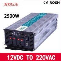 Солнечный инвертор светодиодный инверсор MKP2500 122 мощность Инвертор чистый синус 2500 Вт 12VDC до 220VAC решетки напряжение конвертер