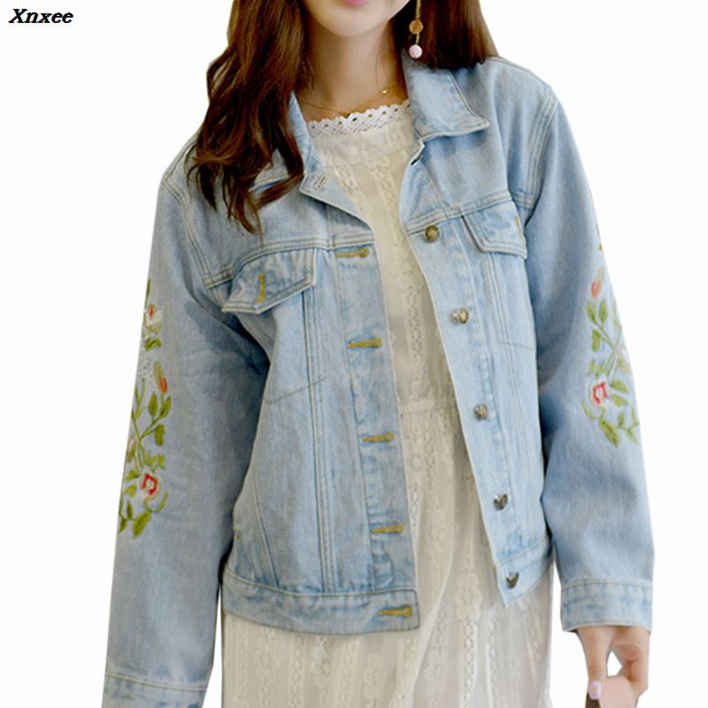 2018 Autumn Female Jean Jacket Outwear Casual Pocket Denim Jacket Clothing Flower Embroidery Women Loose Basic jacket coat Xnxee