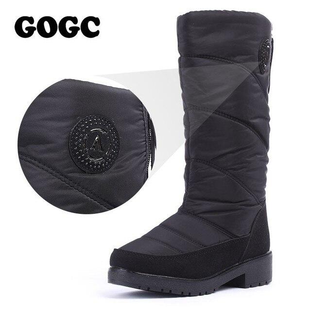 GOGC Sıcak kadın Kış Ayakkabı Diz Yüksek Çizmeler Artı Boyutu Kürk Kış Çizmeler Kadın Moda Kar Botları Yeni Marka kadın Ayakkabı 9831