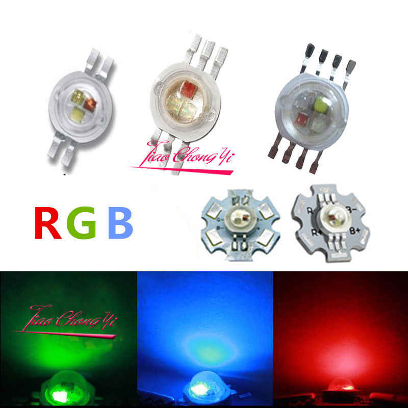 10PCS 3X1W 3X3W RGB RGBW Epiles High Power LED Diode 4pin 6pin 8pin with 20mm star