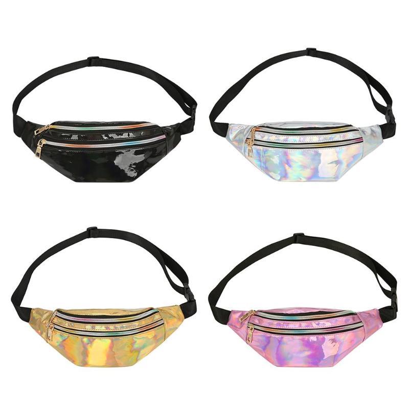 Sammlung Hier Pack Reflektierende Laser Schulter Tasche Frauen Gürtel Taille Tasche Multi-funktion Dampf Punk Frauen Umhängetasche Messenger Brust Mode Tasche