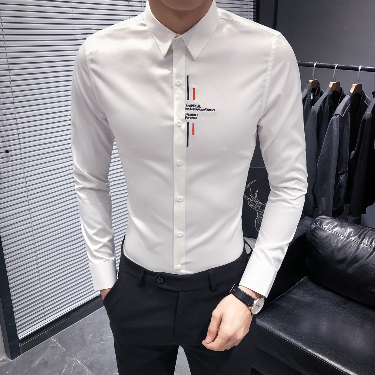 Letter embroidery Collar Shirt Men Shirt Long Sleeve Korean Slim Fit Fashion Dress Shirt Men Club Party shirts Camisa Masculina