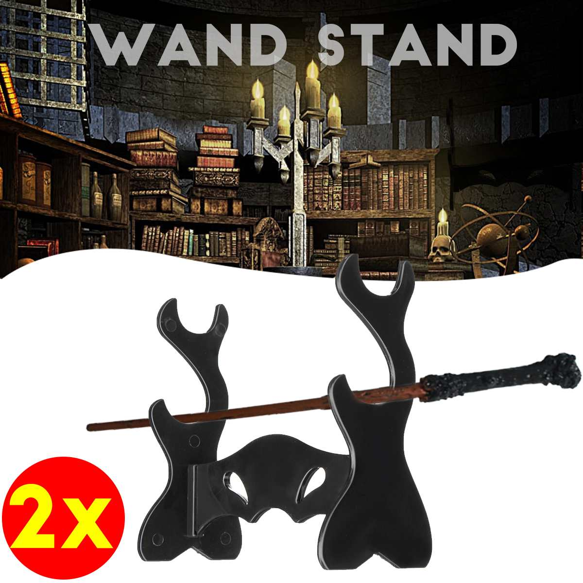 2pcs Two Tiers Holder Wand Display Stand/Acrylic Bracket Rack For Dumbledore Hermoine Magic Wand Collection Weasley Twins