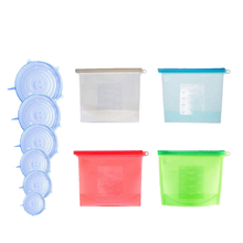 Reusable Silicone Food Storage Kit 4 BPA Free Food Storage Bags with 6 Silicone Stretch Lids Eco-Friendly Convenience