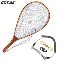 Goture Trout Bass Fly Fishing Accessories Monofilament Nylon Landing Net Set + Lanyard Rope Magnetic Buckle 8 Shape Fast Buckle