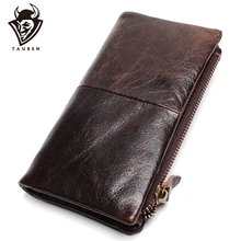 First Layer Of Real Leather Men's Oil Wax Retro High-Capacity Multi-Card Bit Long Wallet  Clutch Men Genuine
