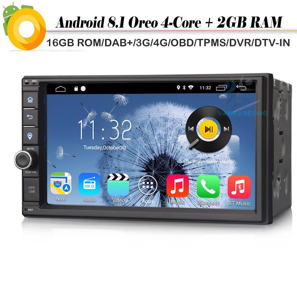 Double din Quad Core Autoradio Android 8.1 Sat Nav Car stereo DAB+ Car GPS Navigation Player WiFi 4G DTV DVB T2 Radio Bluetooth