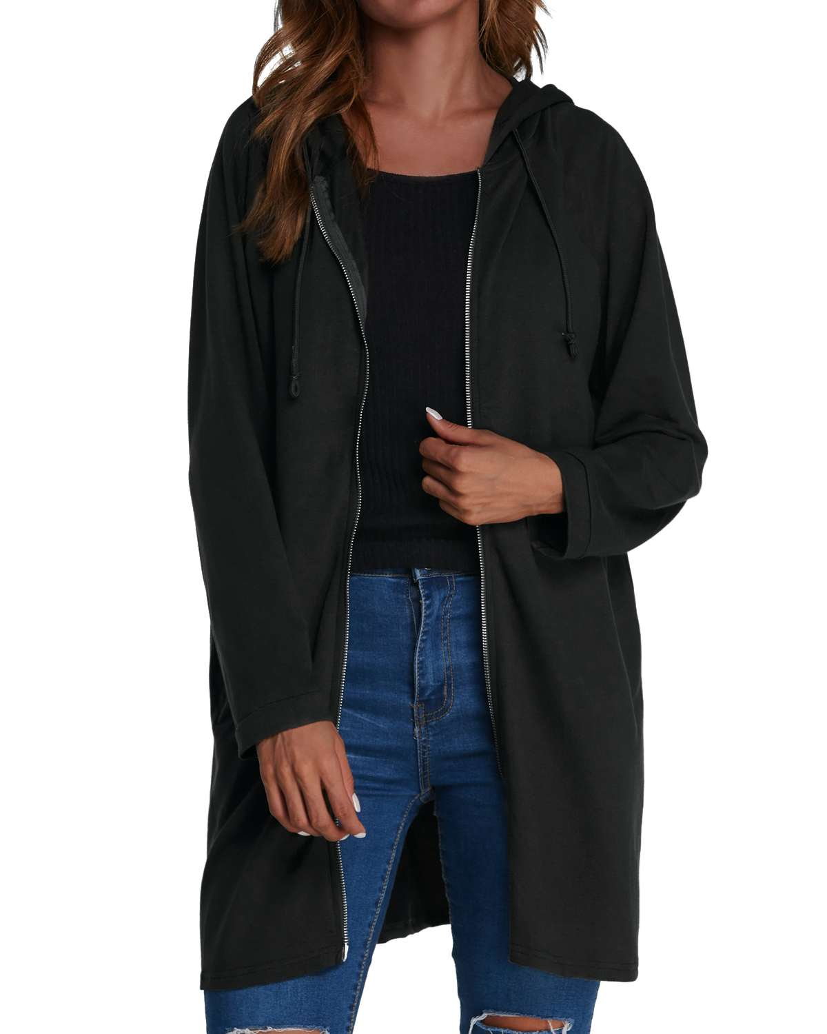 ZANZEA 2019 Spring Women   Trench   Coats Autumn Casual Straight Hooded Long   Trench   Solid Color Zipper Pockets Cardigan Coats Female
