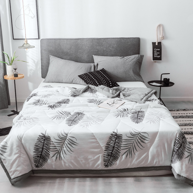 17 Colors Brief WhiteSummer Quilts Grey Leaves Pattern Cool Air Conditioner Blankets Queen Full Twin Size Aircondition Sheet17 Colors Brief WhiteSummer Quilts Grey Leaves Pattern Cool Air Conditioner Blankets Queen Full Twin Size Aircondition Sheet