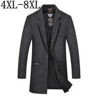 Size 6XL 7XL 8XL 2018 New Autumn Winter Male Woolen Coats Middle Long Business Jackets Mens Thicken Warm Wool&Blends Overcoat