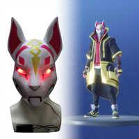 Kitsune Fort niter Mask drift Fox Mask With Led Light Battle Royale Full Face Halloween Party Mask Best Selling Costume Mask