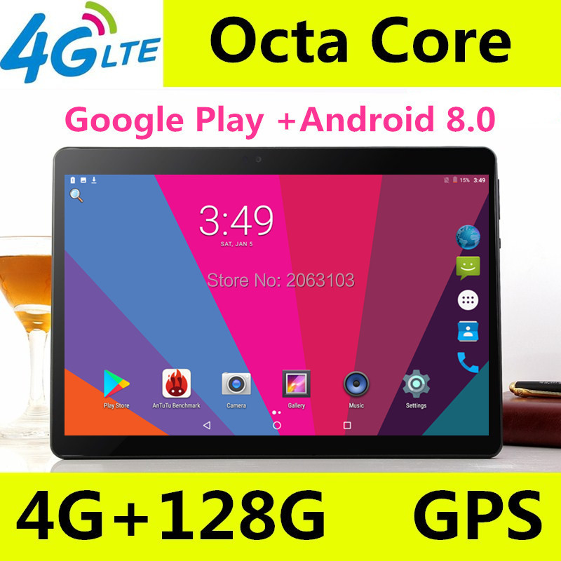Android 8.0 GPS tablette 10 pouces tablette Octa Core 3G 4G FDD LTE appel téléphonique 4 GB RAM 128 GB ROM double SIM 5.0MP Wifi Bluetooth + cadeau