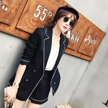 pring and Summer 2019 Korean Office OL White-edged Slim Suit Outerwear Temperament Fashion Two-piece Short Pants Women