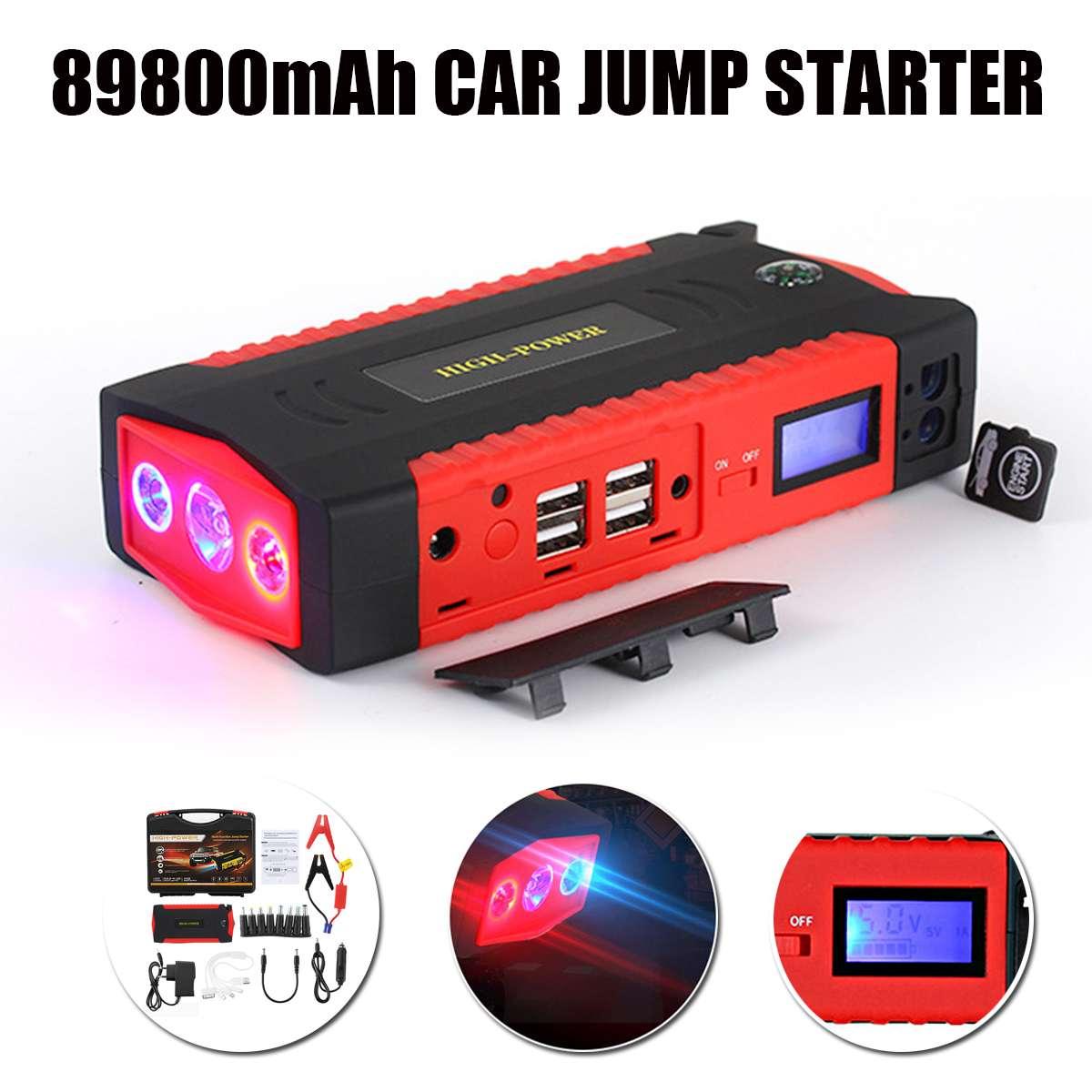 Multifonction voiture saut démarreur batterie externe 4 USB batterie Booster chargeur 12 V démarrage dispositif essence Diesels voiture démarreur 89800 mAh
