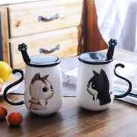 Mignon chat motif en céramique tasse à café avec cuillère et couverture créative grand 450 ML sain chat tasse à café tasse