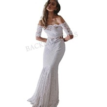 Lace Beach Wedding Dress White 2 Pieces Boat-neck Elegant