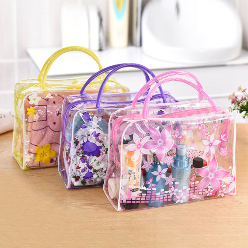 Waterproof High Capacity PVC Transparent Travel Accessories Make Up Organizer Toiletry Bathing Storage Cosmetics Bag