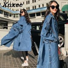 Women loose denim trench coat long windbreaker vintage sleeve outwear female overcoat winter autumn coats Xnxee