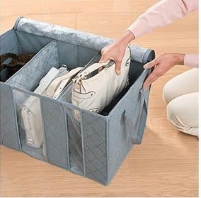 Image 2 - Bamboo Charcoal Can Perspective Three Grid Travel Clothing Closet Organizer Daily Use Arrangement Box Accept Storage Bag-in Storage Bags from Home & Garden