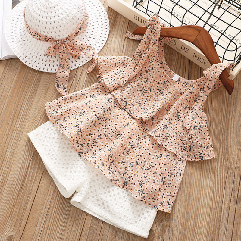 Children Summer Clothes Sets New Style Girls Sleeveless Sling Floral Chiffon Clothes Suits And Straw Hat 3pcs Baby Clothes