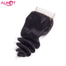Ali Hot Hair Brazilian Loose Wave Lace Closure 10-22 inch 4*4 Free/Middle/Three Part Non-Remy Human Hair Closure Free Shipping(China)