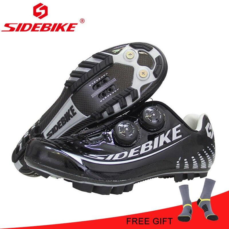 SIDEBIKE vtt chaussures de vélo en Fiber de carbone chaussures de cyclisme hommes respirant antidérapant auto-verrouillage chaussures de vélo de route chaussures de sport de vélo
