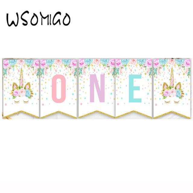 Baby Shower ONE Garlands Cartoon Unicorn 1st Birthday Banner For Girl Party