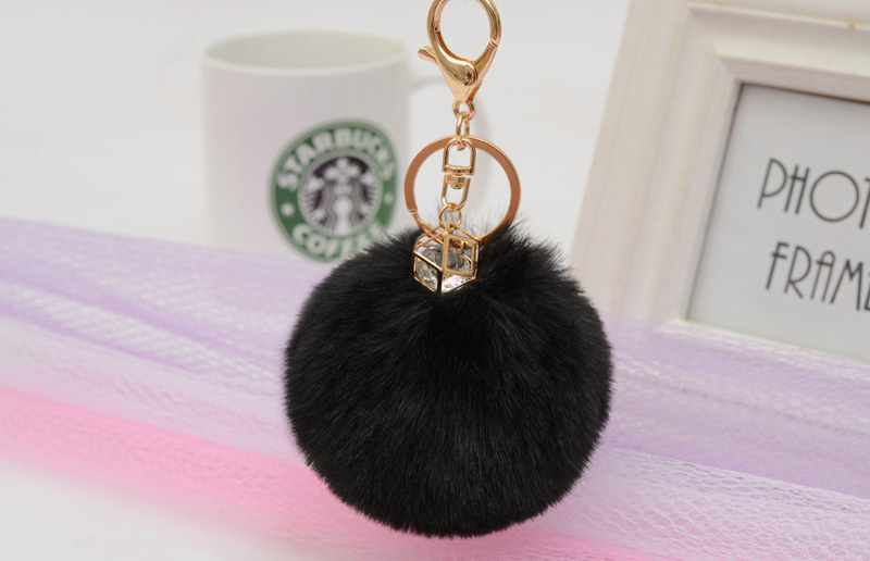 Trinket Fluffy Artificial Rabbit Fur Ball Key Chains with P Pompom Animal Key Ring Car Key Holder for Women Pendant EH306