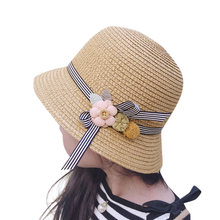Chic Summer Kids Floral Straw Hats Fedora Hat Children Visor Beach Sun Baby Girls Sunhat Wide Brim Floppy Panama For Girl(China)