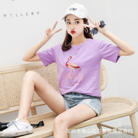 Tshirt Moon Women Best Friends T shirt Pink Purple Cute Top for Teenager Colleage Girls Style Plus Size Female