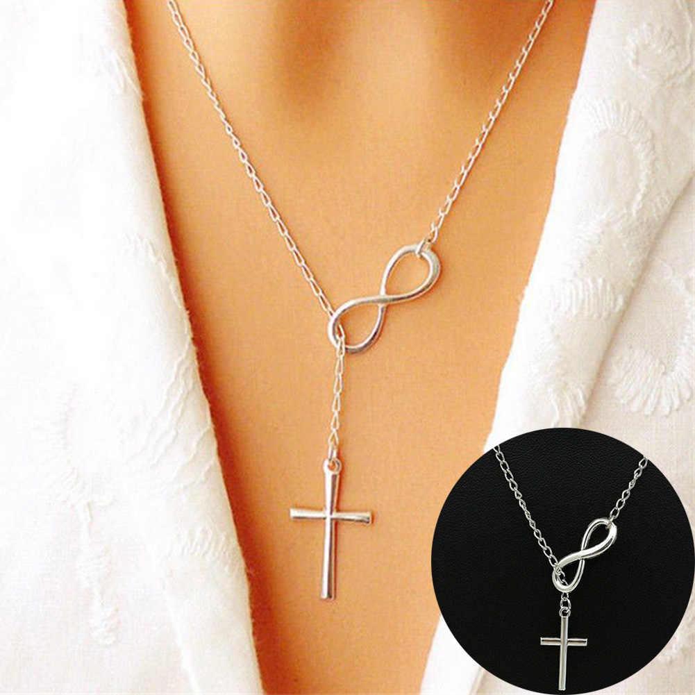 بسيطة الفولاذ المقاوم للصدأ إنفينيتي سحر الصليب قلادة طويلة القلائد الفتيات الفضة المختنق سلاسل Collares مجوهرات للنساء هدايا