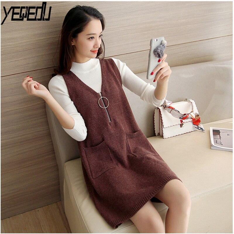 #0727 2019Spring Sleeveless Long Knitted Vest Dress For Women Pullover V-Neck Loose Coat With Zipper Pockets Veste femme V-Neck