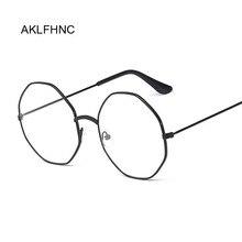 47719b1d076 AKLFHNC Vintage Retro Gold Metal Frame Clear Lens Nerd Geek Eyewear  Eyeglasses Round