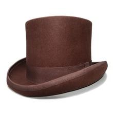 13 см, высота, ретро, для женщин, для мужчин, коричневый цвет, топ, Круглый, плоский верх, шерсть,, винтажный волшебник, президент Линкольн, джентльмен, шляпа
