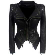 cb63b253980 2019 Coat Hot Women Winter Autumn Black Fashion Motorcycle Jacket Outerwear  Faux Leather Pu Jacket Gothic