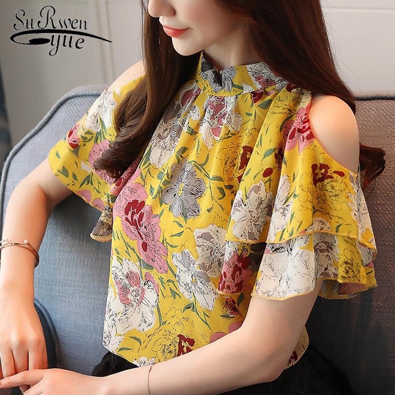2019 fashion chiffon   blouse   women   shirt   short sleeve summer tops print chiffon women   blouse     shirt   blusas women clothing 0175 30