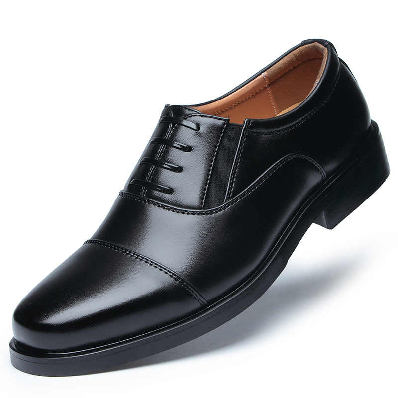 Non-commissioned leather shoes men's three joint leather shoes officers are dressed in business  men's school military shoes