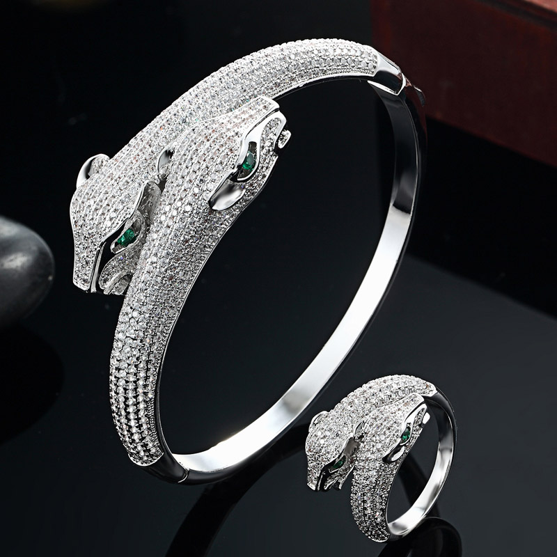 blucome Men Bangles Statement Snake Animal Bangle & Ring Jewelry Brand AAA Zircon Love Bangle Anel Men Fashion Zircon Jewelry