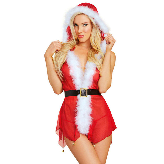 Lady Sex Underwear Christmas Lingerie Sets Women Sexy Pajamas Babydoll Sleepwear Ladies Red Fancy Dress Costumes for Xmas 2